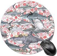 子供のための丸いマウスパッドミニマウスマットゲームマウスパッド猫はギャラクシーキティを攻撃します-サメに乗る猫
