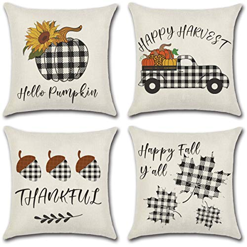 Dazonge Thanksgiving Decorations for Home | Buffalo Checked Plaids Fall Pillow Covers 18 x 18 Inches | Set of 4 Pumpkin Farmhouse Throw Pillowcase | Fall Decor for Home