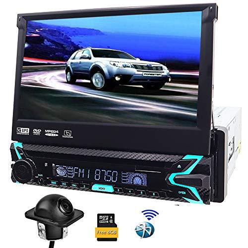 Single DIN auto stereo GPS navigatiesysteem en digitale media receiver met aangedreven 17,8 cm (7 inch) scherm, bluetooth, auto-dvd-speler, LCD-touchscreen, 8 G geheugenkaart met landkaart
