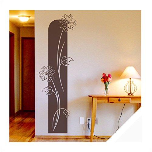 Exklusivpro Wandtattoo florales Blumen Wandbanner Wohnzimmer Schlafzimmer Bordüre (ban11 weiß) 120 x 38 cm mit Farb- u. Größenauswahl