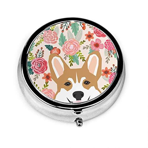 Runde Pillendose mit walisischem Corgi, süßes Blumenmuster, personalisierbar, silberfarbener Stahl, dekorative Box, Medizin, Tablet-Hülle für Tasche oder Geldbörse, einzigartiges Geschenk
