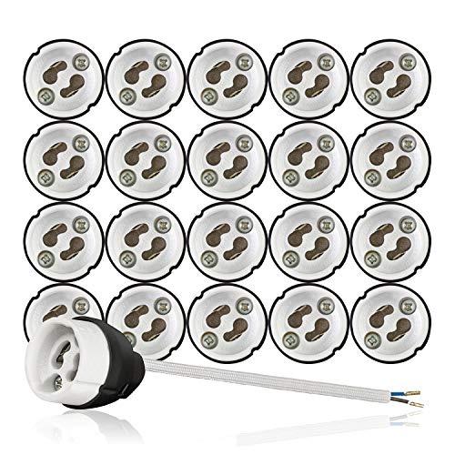 GU10 Brandschutz Keramik Fassungen mit Kupfer Aderendhülsen Ferulen gecrimpt VDE RoHS 230-250 Volt 2A max.100W 0,75mm2 Kabel LED Halogen (hier: 20 Stück)