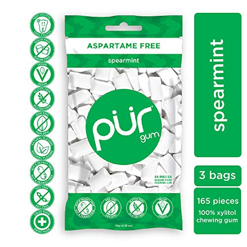PUR 100% Xylitol Chewing Gum, Sugarless Spearmint, Aspartame Free & Sugar free, Vegan - Freshens Breath, Teeth Whitening & Relieves Dry Mouth - Pure Natural Flavored Candy, 55 Count (Pack of 3)