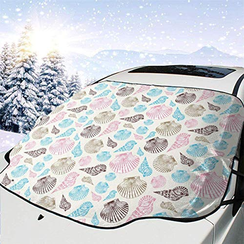 lovely baby-Z Colorfull Seashells - Cubierta para parabrisas de coche, quitahielo para protección de invierno, ajuste universal para coches, camiones, furgonetas y SUV, grueso y grande