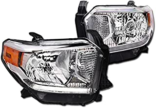 Brightt (I3-OGH-055) Compatible with 2014-2017 Tundra - Platinum,1794 Edition - Crystal Headlight - W/Led Daytime Running Light And Leveling - W/Amber - Chrome