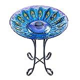 "MUMTOP Outdoor Glass Birdbath Solar Birdbaths with Metal Stand for Lawn Yard Garden Peacock Decor,18"" Dia 21.65 Height"
