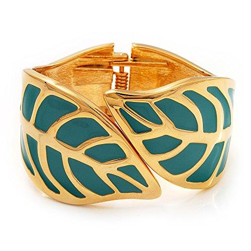 Smalto color turchese 'Leaf'Bracciale rigido apribile, In metallo placcato oro, lunghezza 18 cm
