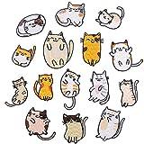 Wacemak1r Parches para planchar con diseño de gatos, pegatinas bordadas, para coser ropa, ropa, para manualidades, chaqueta, accesorios, 15 unidades