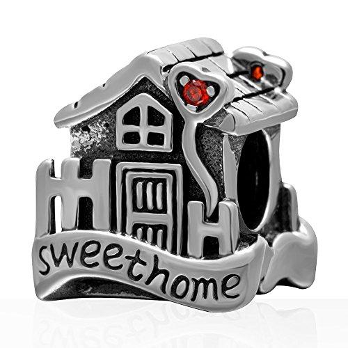 Home Sweet Home Bedel Echt 925 Sterling Zilver Huis met Steen Kralen Fit Europese Bedels Armband