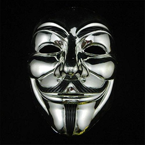 VintageⅢ 2018 Party Cosplay Guy Fawkes Maske Anonyme Maske V wie Vendetta Maske Silber VIP Version