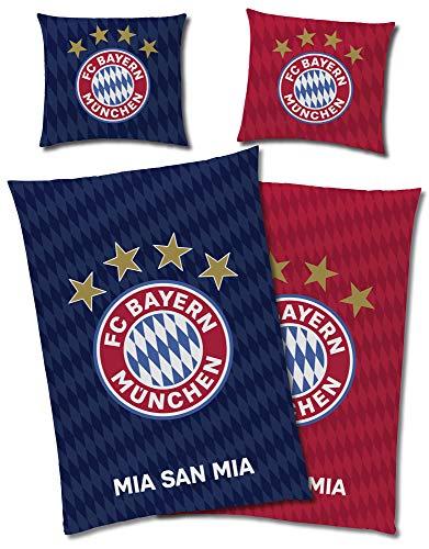 FC Bayern München Wende-Bettwäsche MIA SAN MIA 135 x 200 + 80 x 80 cm 100% Baumwolle Biber-Flanell-Qualität Deutscher Rekord-Meister Alianz Arena Fußball FCB deutsche Größe mit Reißverschluss