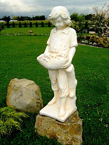 Casa Padrino Art Nouveau Escultura niño con Gato niños 34 x H 118 cm Estilo Antiguo - decoración barroca del jardín