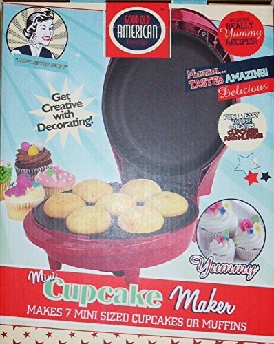 Good Old American Favorities A-CM-6-2386 Mini Cupcake and Muffin Maker, 10.9 x 8.8 x 5.8 inches, Red