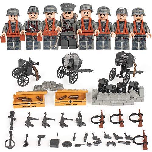 German Squad WW2 World War II 8 Custom Soldiers Set Weapons Blitzkrieg Building Blocks