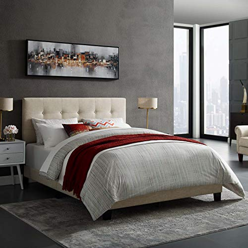 Modway Amira Tufted Fabric Upholstered Twin Bed Frame With Headboard In Beige