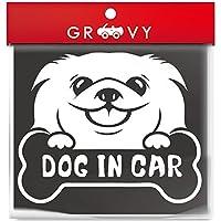 DOG IN CAR ペキニーズ 愛犬 ステッカー 犬が乗ってます 車用 シルエットシール_916 (ホワイト)