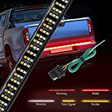Wigbow LED Tailgate Light Bar 60Inch 504LED Triple Row Truck Tailgate Bed Light Strip Turn Signal Brake Reverse Stop Tail Light Waterproof + Free 4-Way Flat Connector Wire (3 ROW)