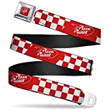 Belt Seatbelt Buckle Toy Story Pizza Planet Logo Checker Red White 24 to 38 Inches