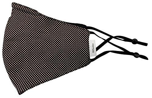 Mund Nase Stoffmaske Gesichtsmaske mit Nasenbügel | Community Fashion Maske - Dunkelbraun mit weißen Punkten