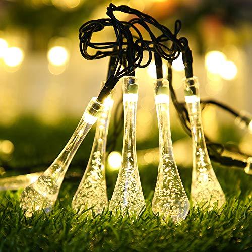 RSHOWER Solar LED Lichterketten, 19,5 Fuß 30 LED Outdoor Lichterkette mit Form von Wassertropfen/Teardrop/Regentropfen Patio Beleuchtung Dekor für Hausgarten (Warmes Weiß)
