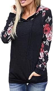 Women's Floral Printed Raglan Long Sleeve Hoodie Sweatshirt Casual Pullover Tops Jacket with Kangaroo Pocket