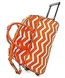 "Handbag Inc Chevron Stripe Canvas 20"" Rolling Duffel Bag with Extension Handle Orange"
