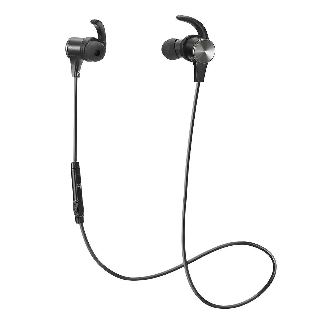 重量シルク想定するTaoTronics Bluetooth イヤホン(apt-Xコーデック対応?IPX6防水仕樣?CVC6.0) ノイズキャンセリング 自動ペアリング 高音質 マグネット搭載 スポーツ仕様 TT-BH07 (ブラック)