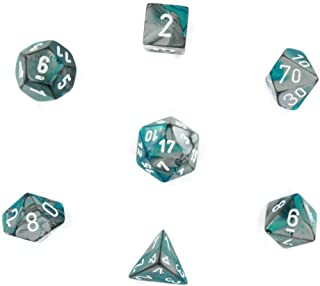 Chessex Polyhedral 7-Die Gemini Dice Set - Steel-Teal with White CHX-26456