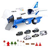 BAZOVE Car Toys Set with Transport Cargo Airplane, Mini Educational Vehicle Police Car Set for Kids Toddlers Boys Child Gift for 3 4 5 6 Years Old, 6 Cars, 1 Large Plane, 11 Road Signs(Blue)