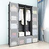 SIMPDIY Armario sistematizado, 12+2 cubo plegable o colgante, armario almacenamiento gran capacidad estilo familiar para las prendas vestir, con puerta antipolvo armario almacenamiento ropa dormitorio