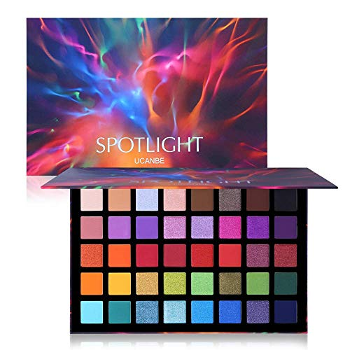 UCANBE 40 colores Spotlight Eyeshadow Palette Multi-reflective Shimmer Glitter Peacock Eye Shadow Professional Eye Shadow Matte Shimmer Makeup Sombra de ojos en polvo de colores altamente pigmentados