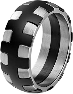 HIJONES Men's Stainless Steel Tire Tread Band Matte Finish Biker Wedding Ring