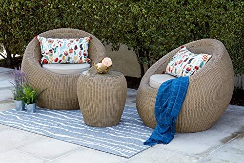 Quality Outdoor Living 65-517547 Aspen Chat Set, Tan Wicker + Tan Cushions