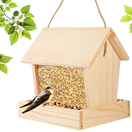 Wooden Wild Bird Feeder- Wood Solid Bird House Feeder with...