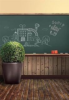 laeacco 3x 150Vinyl Fotografie Hintergrund Schule Memorial Klassenzimmer Thema Tafel Kreide einfachen, Zeichnen Tafel Bonsai Vintage Holz Boden Szene Foto Studio Hintergrund