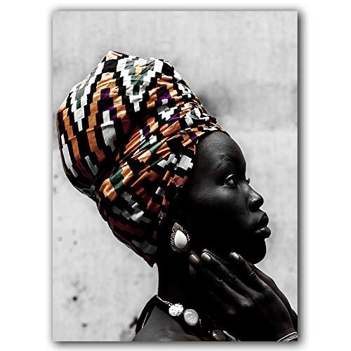 Nativeemie Art Lona Negro Oro Elegant Art Africano Mujer Pintura sobr Lienzo Carteles Impresiones Imag Pared Sa Estar Decor del hogar 60x90cm / 23.6'x35.4 Marco Interno