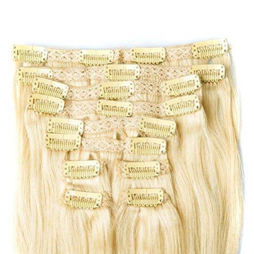 Clip en extensions de cheveux humains naturel cheveux vierges brésiliens Remy droit # 613 blond décoloré 8 Lot de 120 grammes (50,8 cm)