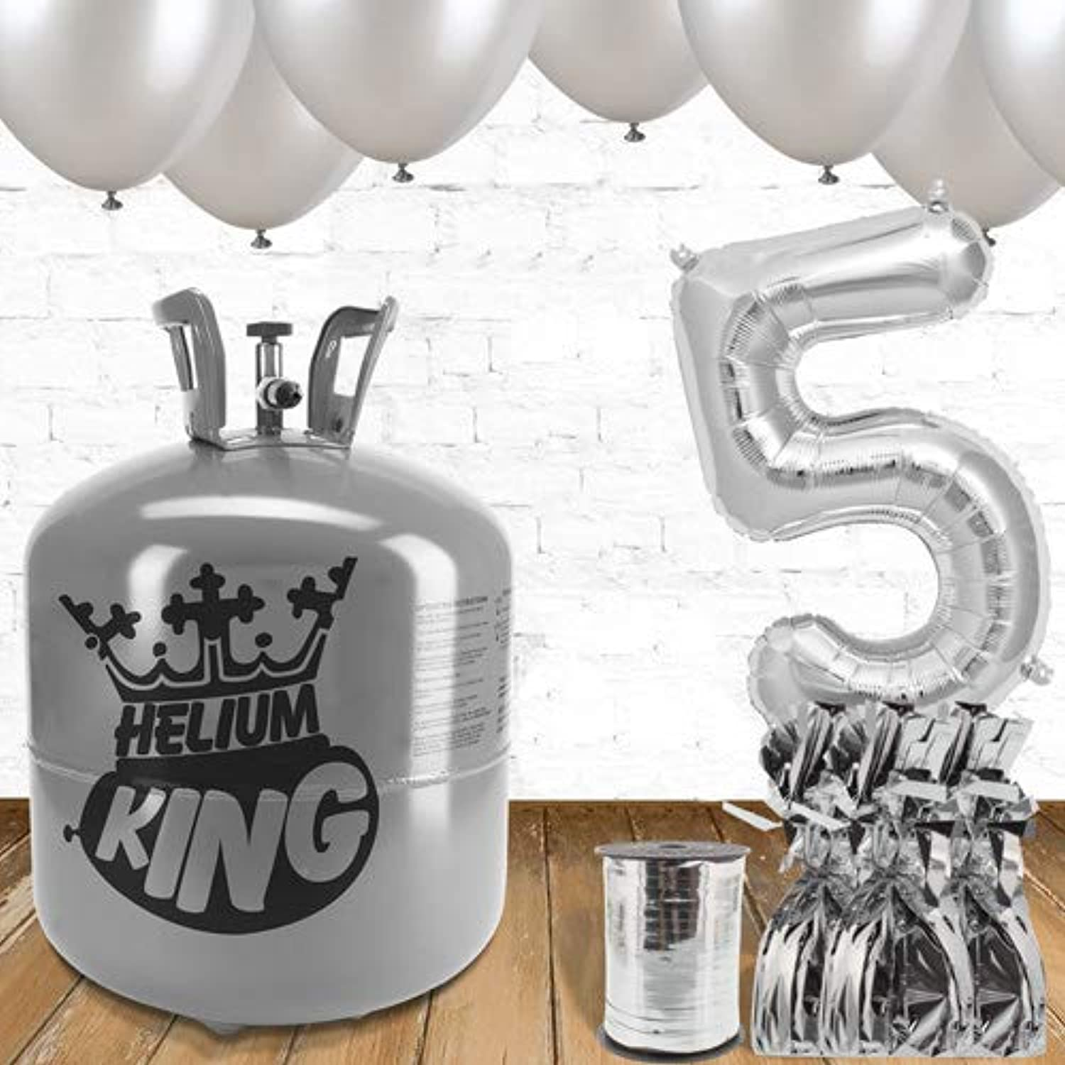 5th Birthday Silver Balloons and helium gas package