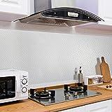 KINLO 0,61 x 5 m adesivo in alluminio da cucina pellicola autoadesiva da cucina pellicola anti-muffa impermeabile anti-olio impermeabile per mobili per cucine, armadi, mobili, tavoli tipo B