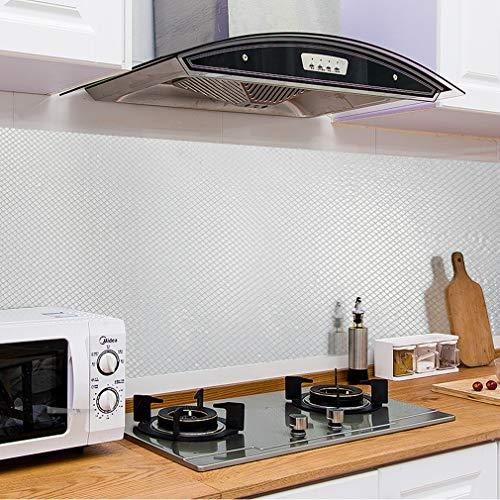 KINLO 60x500CM Aluminium Folie Aufkleber Küchen Selbstklebende Küchenfolie Hitzebeständig Tapete Öl-Resistent Wasserdicht Anti-Schimmel DIY Möbel Folie für Küchen/ Schrank/ Möbel/ Tische