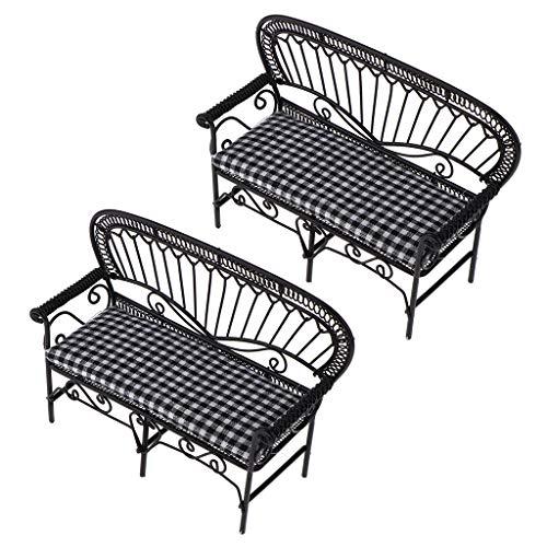 T TOOYFUL - 2 unidades 1/12 muebles de casa de muñecas en miniatura, silla de sofá, banco de decoración, color negro