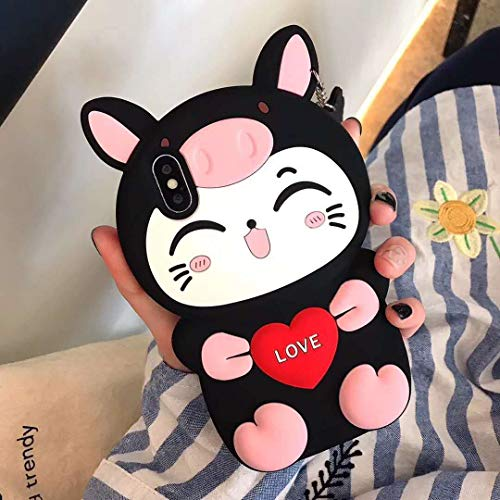 SevenPanda iPhone 11 Hülle, 3D Love Katze mit niedlichen Schwein Nase Silikon Kasten Abdeckung für iPhone 11 6.1 Zoll - Schweinhut Katze Schwarz