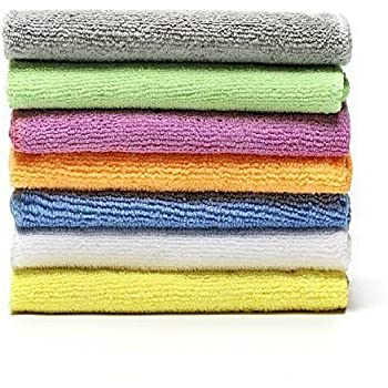 BONDRE DEARTOWN Microfiber Face Towels Washcloths (7-Pack 12x12) - Soft, Fast Drying Cleaning Cloth,Dish Cloth,Fit for Multi-Purpose Exfoliating (Colorful, 12x12 Inches)
