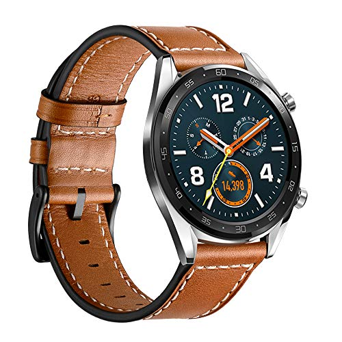 HATALKIN Bands for Huawei Watch GT 2 46mm / GT Band Leather 22mm Quick Release Pins Wristband Strap Compatible Galaxy Watch 3 45mm /Huawei Watch GT2 46mm/ GT Classic/Sport/TicWatch E2/S2 (Brown)