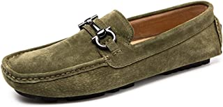 LFSP Mens Penny Loafers Boat Shoes Penny Loafers for Men Slip on Style Suede Leather Flat Driving Moccasins Boat Shoes Vamp Decor with Metal Buckle A (Color : Green, Size : 38 EU)