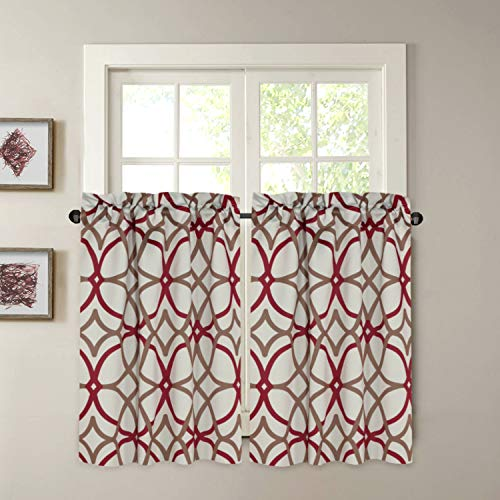 """Blackout Kitchen Curtains Energy Saving Ultra Soft Kitchen Half Window Curtains, Rod Pocket Window Curtain Tiers for Café, Laundry, Bedroom, Sold 2 Panels (Each 29"""" x 24"""", Taupe/Red)"""