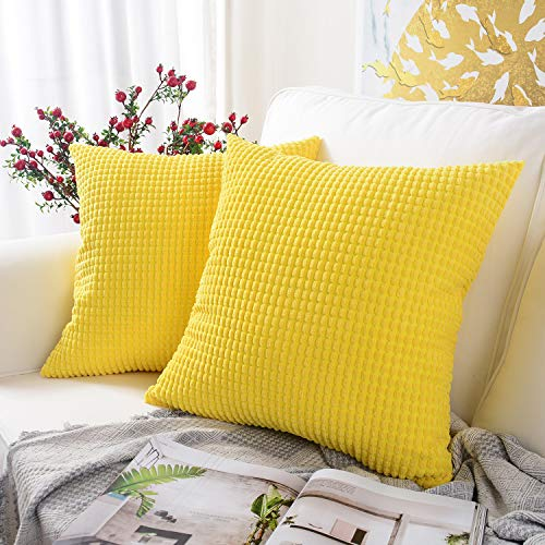 MERNETTE Pack of 2, Corduroy Soft Decorative Square Throw Pillow Cover Cushion Covers Pillowcase, Home Decor Decorations for Sofa Couch Bed Chair 18x18 Inch/45x45 cm (Granules Lemon Yellow)