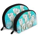 Flores de tulipán Bolsas portátiles Bolsa de Maquillaje Bolsa de Aseo, Bolsas de Viaje portátiles multifunción Pequeña Bolsa de Embrague de Maquillaje con Cremallera