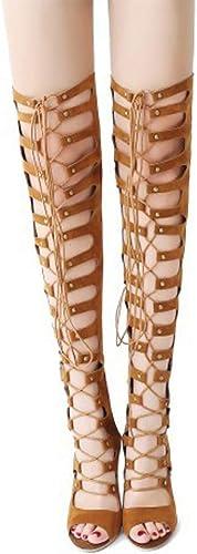 TYX-SS Bottes élégantes ajourées à Talons Hauts pour Femmes Printemps et en été Sandales Sexy à la Mode européenne et américaine