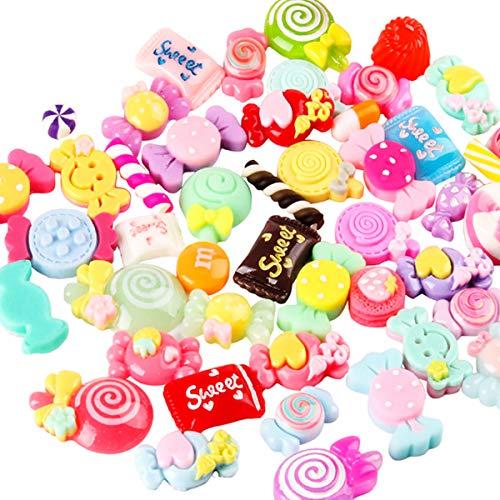 Juego de dulces mixtos, lollipop de resina Slime Beads Making suministros para bricolaje Scrapbooking Crafts Niños de pelo joyas accesorios, varios colores y formas para niños
